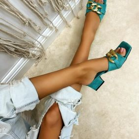 VELOUR THICK HEEL MULES WITH CHAIN - MINT