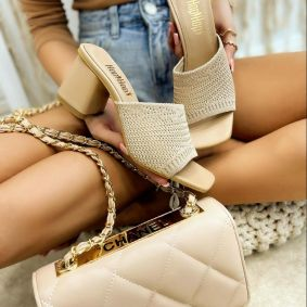 THREAD MULES WITH BLOCK HEEL - BEIGE