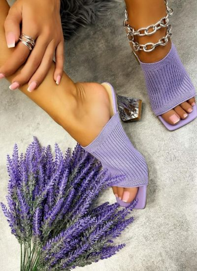 MULES WITH CLEAR HEEL - PURPLE
