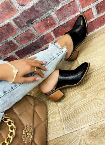 BLOCK HEEL MULES - BLACK