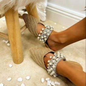 JUTA FLAT MULES WITH PEARLS - BEIGE