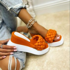WEDGE KNITTED SLIPPERS - ORANGE
