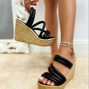 WEDGE SLIPPERS - BLACK