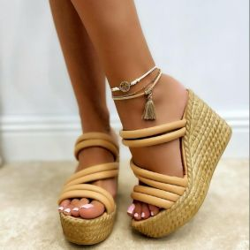 WEDGE SLIPPERS - BEIGE