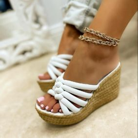 WEDGE SLIPPERS - WHITE