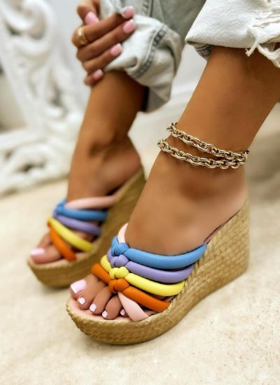 COLOURFUL WEDGE SLIPPERS