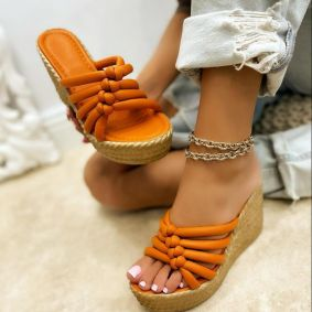 WEDGE SLIPPERS - ORANGE