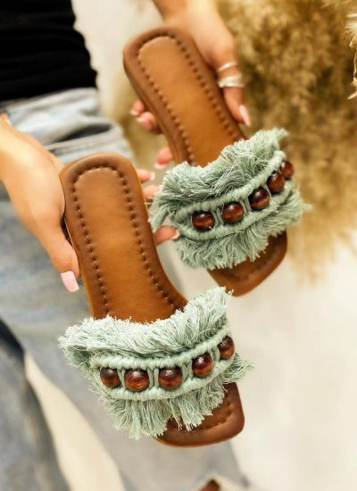 FRINGE FLAT SLIPPERS - GREEN