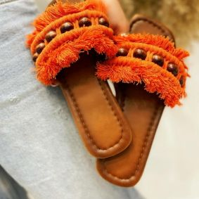 FRINGE FLAT SLIPPERS - ORANGE