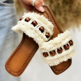 FRINGE FLAT SLIPPERS - WHITE