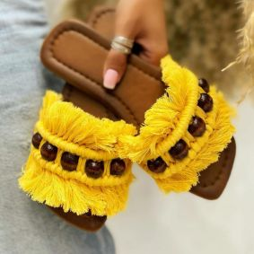 FRINGE FLAT SLIPPERS - YELLOW