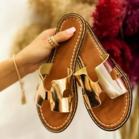 FLAT SLIPPERS - GOLD