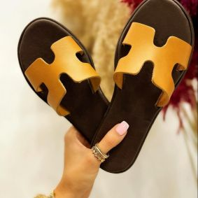 FLAT SLIPPERS - OCHER