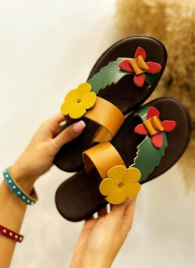FLAT SLIPPERS WITH FLOWER - BEIGE