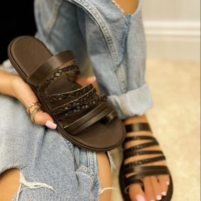 Leather slippers LANA - BROWN