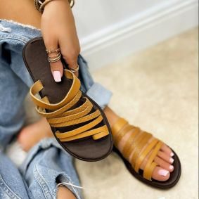Leather slippers LANA - CAMEL