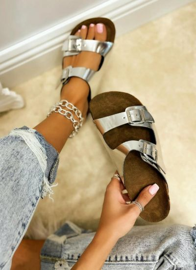 BELTED SLIPPERS - SILVER