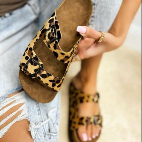 LEOPARD PRINT BELTED SLIPPERS