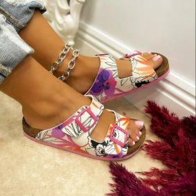 PRINTED SLIPPERS WITH BELTS - WHITE/ROSE