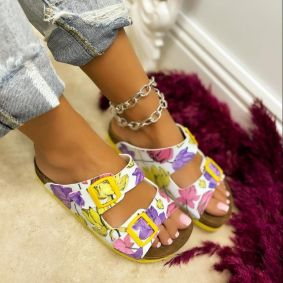 FLAT SLIPPERS WITH BELTS AND FLOWER PRINT - WHITE/YELLOW