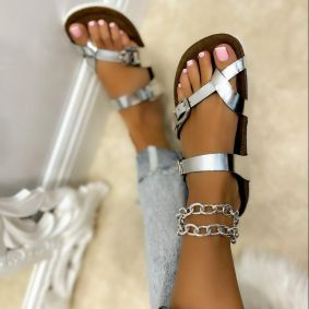 TOE LOOP SLIPPERS WITH BELT - SILVER