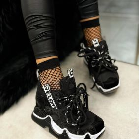 LOVE HIGH SOLE SNEAKERS - BLACK