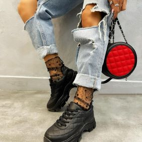 SAW LACE UP SNEAKERS - BLACK