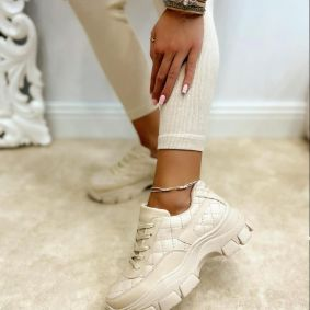 SAW LACE UP SNEAKERS - BEIGE