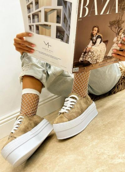 SHALLOW SNEAKERS WITH HIGH SOLE - BEIGE
