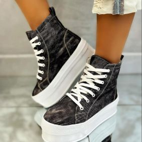 HIGH SOLE ANKLE SNEAKERS - BLACK
