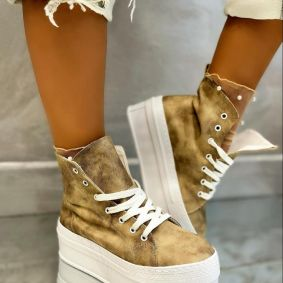 HIGH SOLE ANKLE SNEAKERS - BEIGE