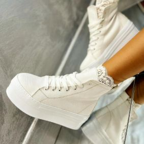 HIGH SOLE ANKLE SNEAKERS - WHITE