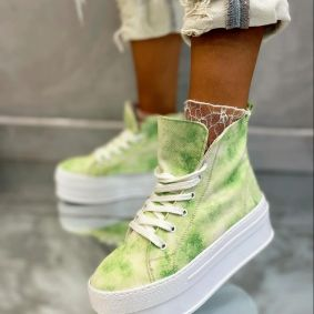HIGH SOLE ANKLE SNEAKERS - GREEN