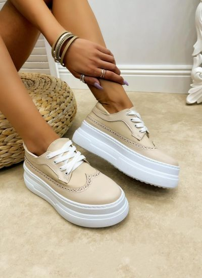 HIGH SOLE SHALLOW SHOES - BEIGE