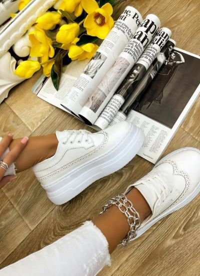 HIGH SOLE SHALLOW SHOES - WHITE