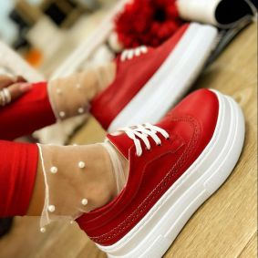 HIGH SOLE SHALLOW SHOES - RED