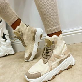HIGH SOLE ANKLE STRETCH SNEAKERS - BEIGE