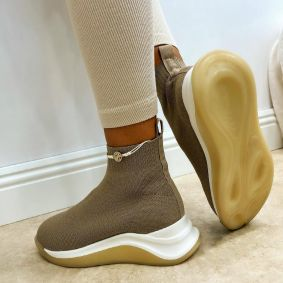 STRETCH ANKLE SNEAKERS - BEIGE