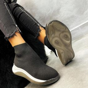 STRETCH ANKLE SNEAKERS - BLACK