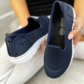 SHALLOW PULL ON SNEAKERS - NAVY BLUE