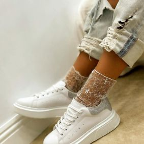 HIGH SOLE SNEAKERS WITH STRASS - WHITE