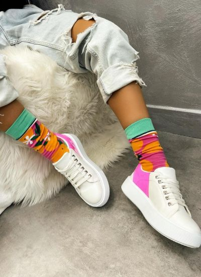 HIGH SOLE SNEAKERS - WHITE/PINK