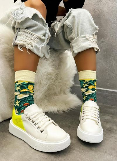 HIGH SOLE SNEAKERS - WHITE/YELLOW
