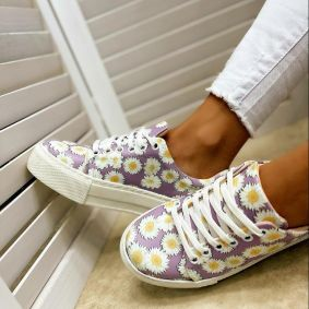 SNEAKERS WITH FLOWER PRINT - PURPLE