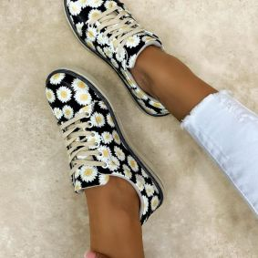SNEAKERS WITH FLOWER PRINT - BLACK