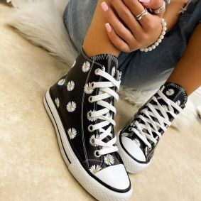 ANKLE SNEAKERS WITH FLOWER PRINT - BLACK