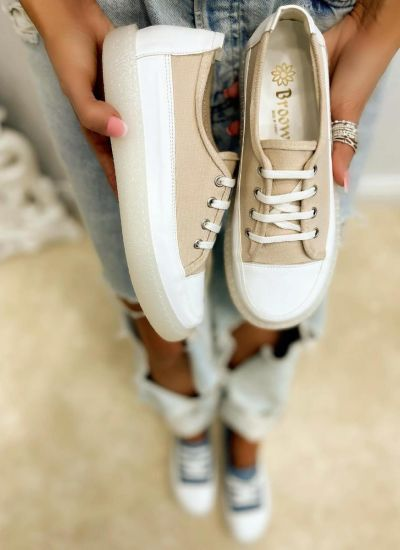 SHALLOW HIGH SOLE SNEAKERS - BEIGE