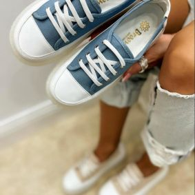 SHALLOW HIGH SOLE SNEAKERS - BLUE