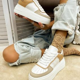 HIGH SOLE SNEAKERS - BEIGE