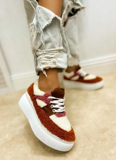HIGH SOLE SNEAKERS - CAMEL